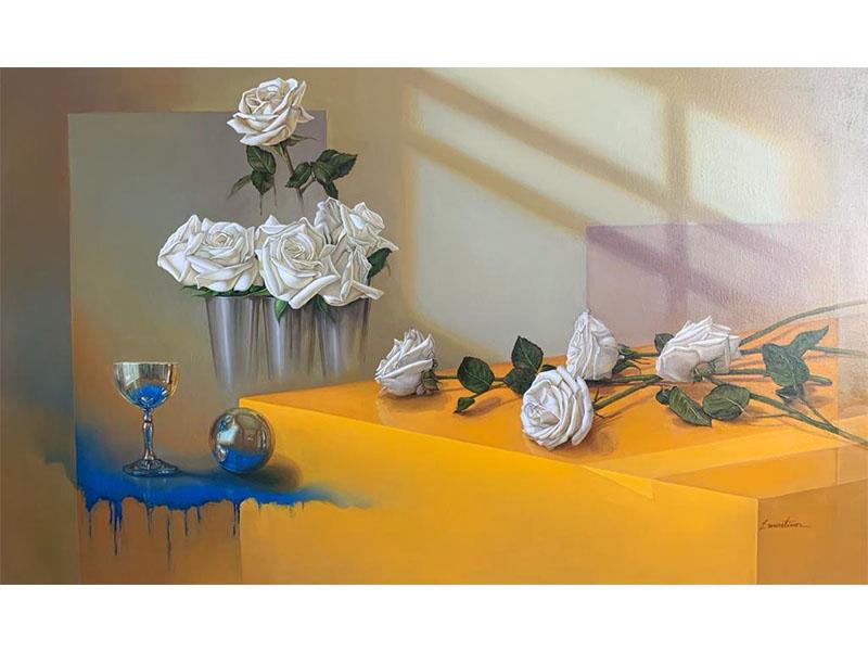bodegón uvas, flores cuadros decorativos, arte contemporaneo